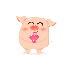 Pig with heart, giving love, happy Valentines day and Chinese New Year, cute cartoon character collection vector illustration