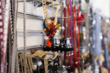 Lot of nice colored earrings on the stand