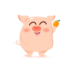 Pig and orange, cute cartoon character collection, kids and baby vector illustration