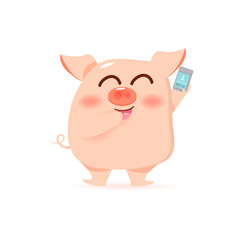 Pig and phone, mobile calling cartoon character collection vector illustration