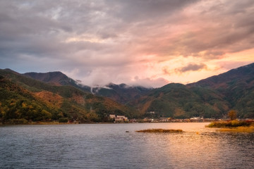 Lake Kawaguchi, one of the scenic five lakes next to Mount Fuji, Japan