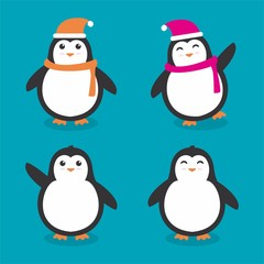 Set of penguin vector isolated on blue background
