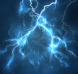 A bright lightning in the dark sky. Vector image