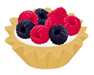 Dessert cake tartlet with cream, raspberry and blackberry. Vector illustration on white wooden background
