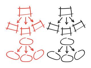 Marker hand drawn. Map arrow doodle vector elements