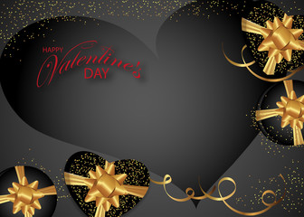 Valentines day background decorated Boxes with gold bows and heart. Design for posters or banners. Vector illustration.