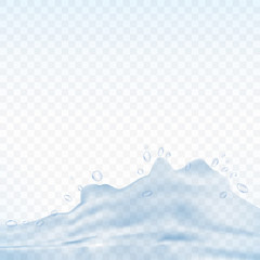 Water splash isolated on transparent background. Vector