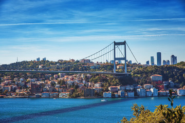 View of Fatih Sultan Mehmet Bridge in Beykoz district in Istanbul