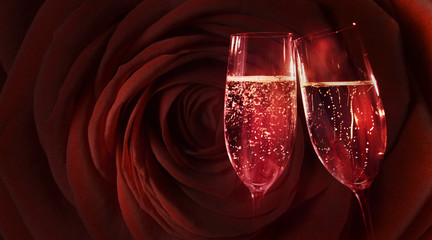 Red rose with champagne