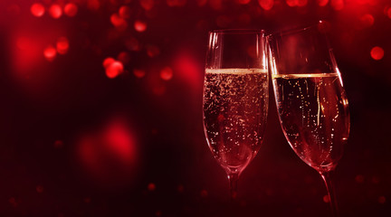 Valentines background with champagne