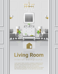 Luxury living room interior background with furniture in classic style , vector , illustration