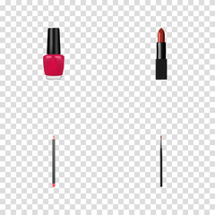 Set of greasepaint realistic symbols with nail polish, lip pencil, cosmetic stick and other icons for your web mobile app logo design.