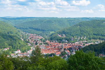 view of the village bad urach in germany