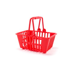 Red plastic basket isolated on a white background.