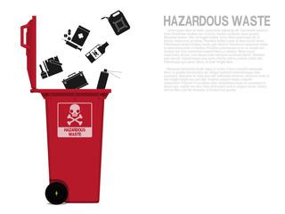 Hazardous waste icon is falling in to the bin