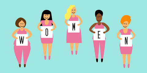 Cute cartoon characters of diverse international and interracial group of happy women