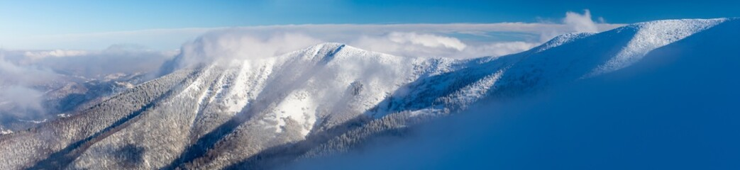 The Male Fatra mountain ridge in winter, Slovakia