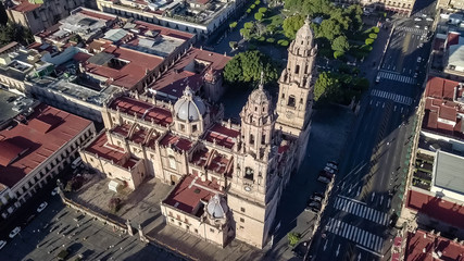 Aerial view of Morelia Mexico historic center