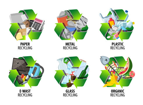 Recycling label with different types of waste. Reduce pollution signs. Trash sorted by plastic, organic, e-waste, metal, glass, paper. Vector illustration