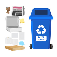 Rubbish bin for recycling different types of waste. Garbage container for paper trash. Vector illustration