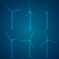 Three wind turbines. Set of vector images. Concept natural Energy