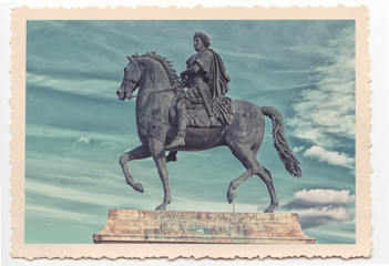 Louis the XIVth statue in Lyon - vintage photograph