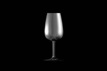 3D illustration of port wine glass isolated on black side view - drinking glass render