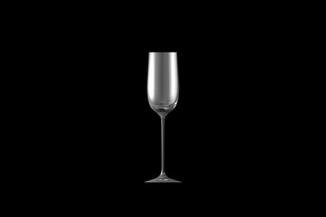 3D illustration of cordial liqueur glass isolated on black side view - drinking glass render