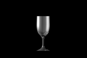 3D illustration of sour cocktail glass isolated on black side view - drinking glass render