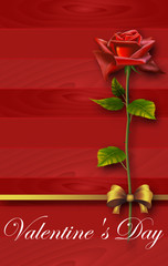 Red rose with gold ribbon and bow on a red wooden background,Red Roses, Green Leaves and Curly Ribbon,Valentines Day Card