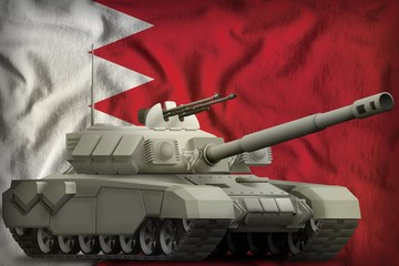 heavy tank on the Bahrain national flag background. 3d Illustration
