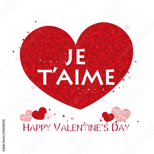 i love you'' text in french  Red shining sparkle heart