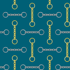 Seamless gold and silver color chain pattern on turquoise background.