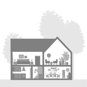House in cut. Modern house interior.Vector illustration