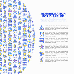 Rehabilitation for disabled concept with thin line icons: magnetic therapy, laser, massage, lymphatic drainage, exoskeleton, cryotherapy, biomechatronics. Vector illustration, web page template.