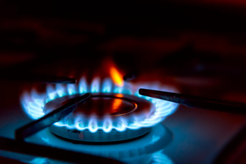 Blue gas burning from a kitchen gas stove. Selective focus