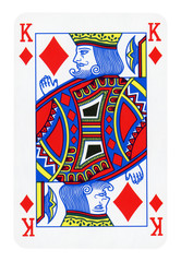 King of Diamonds playing card isolated on white (clipping path included)