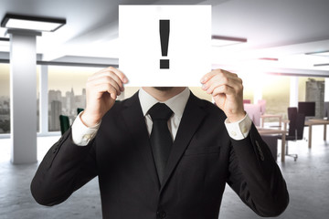 businessman in modern office hides face behind sign exclamation mark 3D Illustration