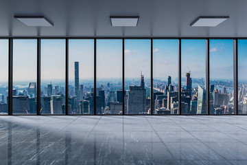 Front view modern empty office with panoramic skyline view bright daylight - 3D Illustration