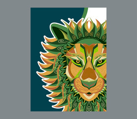 Lion head illustration, t-shirt graphics, vectors, typography - Vector