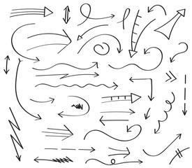 hand drawing arrow signs set vector