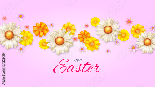 Poster With Easter Camomile For Decoration Of Celebration Template