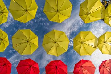 Christmas time in Torrox Spain with colorful umbrellas - feliz navidad