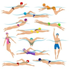 Swimmers vector. Various characters swimming people in action poses, sport man swim action