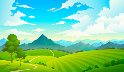 Meadows with mountains. Landscape hill field mountain land sky wild nature grass forest countryside tree. Summer land Wall mural