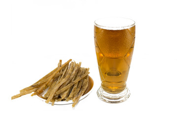 foam beer with dried fish isolated on white background.