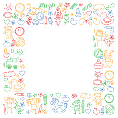 Vector doodle set with kindergarten children. Small kids play, learn, having fun together