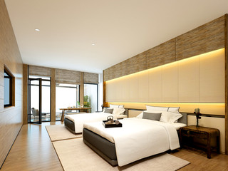 3d render luxury hotel room with two beds