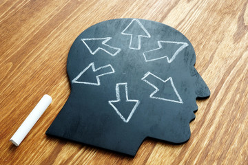 Emotional intelligence. Head shape and arrows. Extrovert concept.