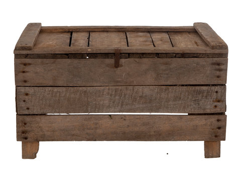 Old wooden box, crate, isolated on white. Upside down, empty.